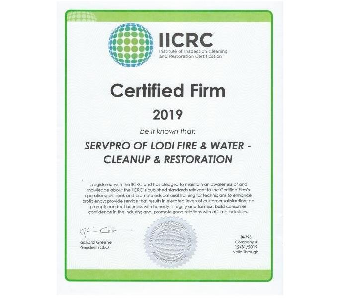 Water Damage SERVPRO of Lodi - IICRC Certified